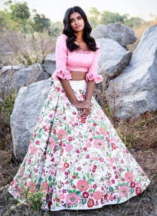 Designer White Color Taffeta Base Floral Printed Lehenga Choli