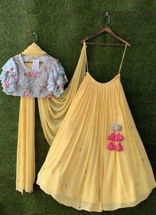 Fabulous Georgette Base Yellow Embroidery Lehenga choli
