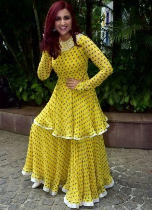 Lemon Yellow Color Designer Party Wear Sharara Suit