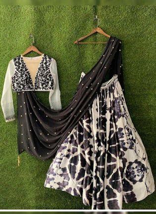 Black And White Color Party Wear Designer Shibori Printed Lehenga Choli