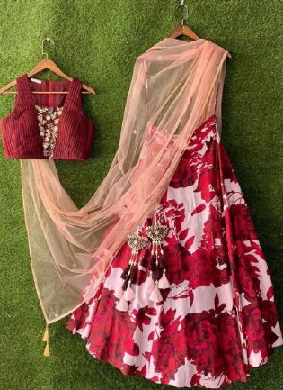 Dazzling Red Color Taffeta Silk Base Digital Print Work Lehenga Choli