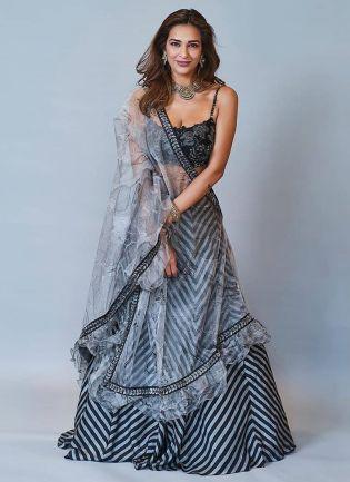 Incredible Cloudy Grey Flared Wedding Wear Silk Base Lehenga Choli