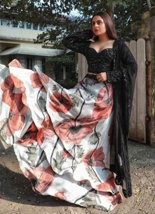 Elegant White Silk Base Digital Printed Lehenga Choli