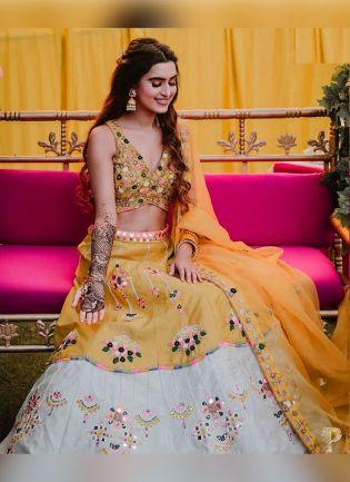Sunny Yellow Color Taffeta Silk Base With Sequins And Embroidery Work Lehenga Choli