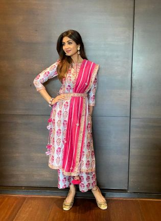 Classic White and Pink Silk Palazzo Suit