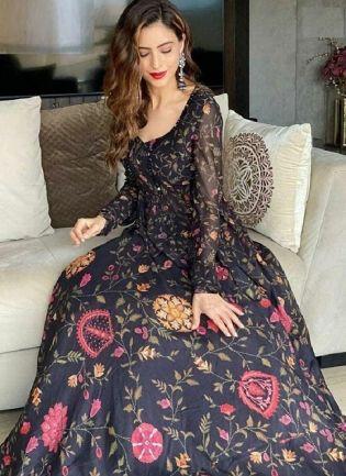 Designer Look Black Color Heavy Print Georgette Base Crop Top Lehenga