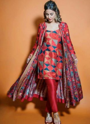 Bollywood Style Multi Color Silk Base Digital Print Designer Look Jacket Style Salwar Suit