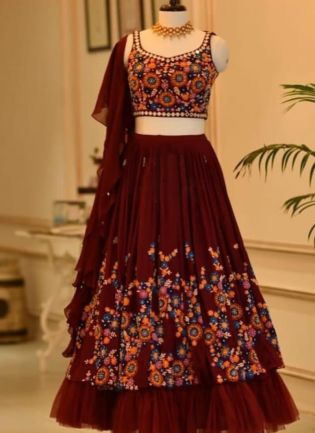 Eye-Catching Maroon Color Flared Lehenga Choli