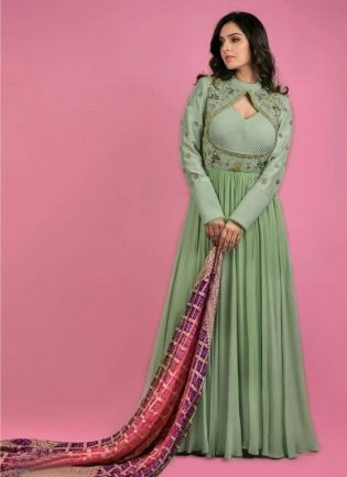 Cool Green Color Georgette Base Anarkali  Suit With Banarasi Silk Dupatta