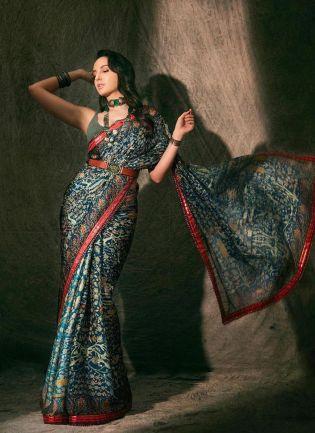 Bollywood Style Rama Green Color Silk Base Digital Print Saree With Belt
