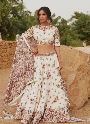 Off-White Color Taffeta Silk Base Digital Print Bollywood Lehenga Choli
