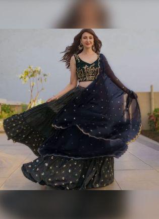 Dark Blue Color Taffeta Silk Base Bollywood Lehenga Choli