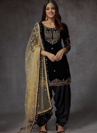 Eye-Captivating Black Color Velvet Base Embroidery With Sequins Work Dhoti Style Salwar Suit