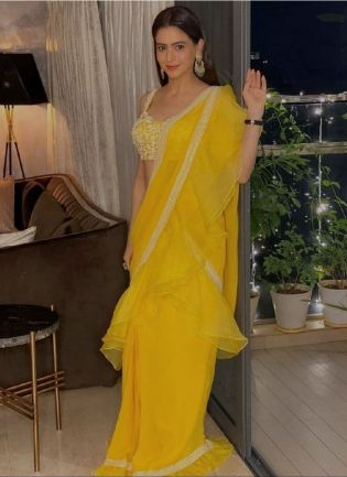 Sunny Yellow Color Organza Base Party Wear Ruffle Lehenga Choli