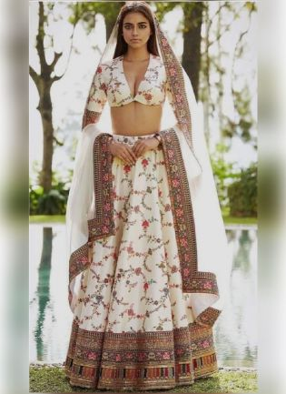 Gorgeous Look Off-White Color Taffeta Silk Base Digital Print Designer Lehenga Choli