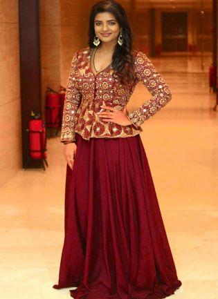 Maroon color Long Lehenga Choli