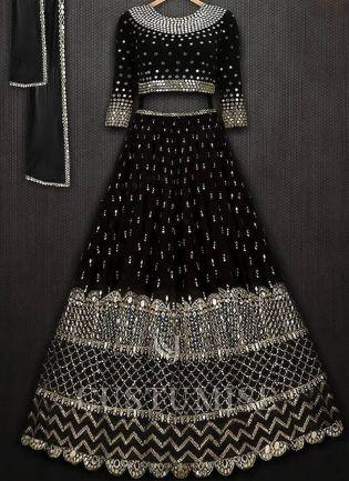 Black Color Designer Party Wear Georgette Base Lehenga Choli
