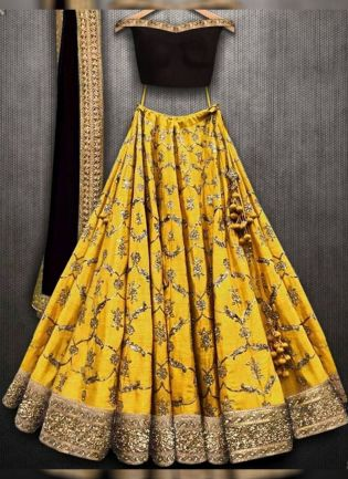 Mustered Yellow Color Wedding Wear Embroidery Work Designer Lehenga Choli