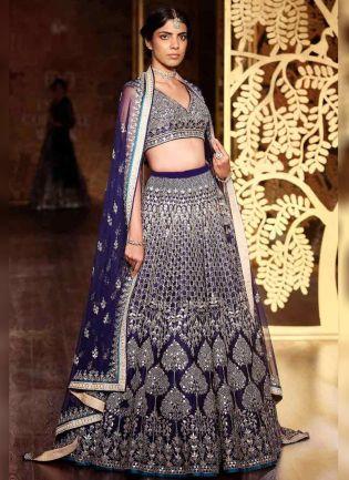 Navy Blue Color Wedding Wear Designer Embroidery Work Lehenga Choli