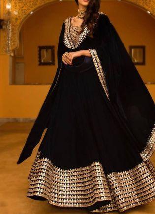 Black Color Wedding Wear Designer Georgette Base Lehenga Choli
