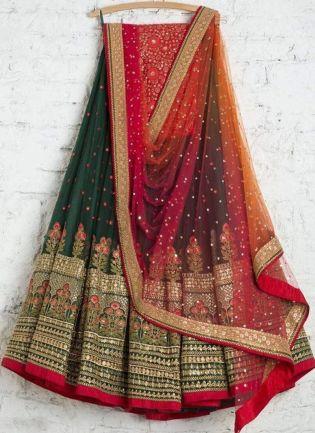 Dark Green Color Wedding Wear Designer Georgette Base Lehenga Choli
