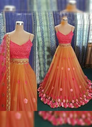 Orange Color Party Wear Designer Soft Net Base Fared Lehenga Choli