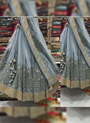 Grey Color Wedding Wear Designer Net Base Lehenga Choli