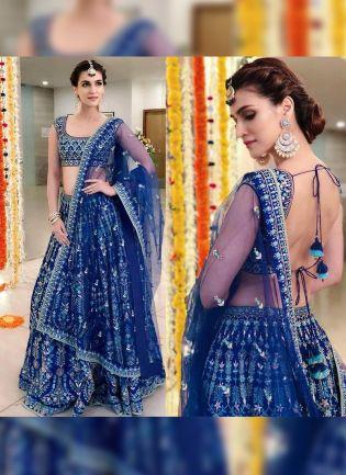 Blue Color Wedding Wear Heavy Thred Work Desiger Lehenga Choli