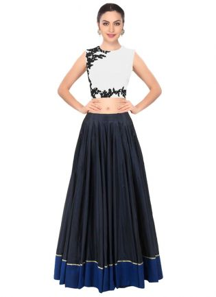 White And Blue Color Party Wear Designer Crop Top