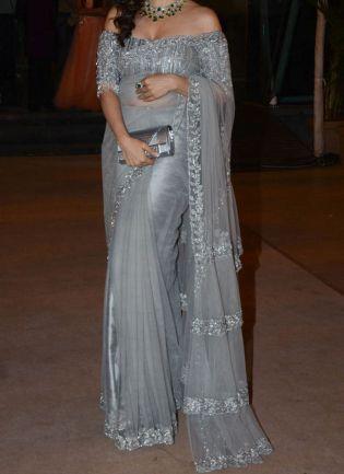 Grey Soft Net Fabric And Zari Work Embroidered Saree