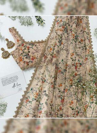 Beige Color Designer Georgette Base Digital Printed Saree