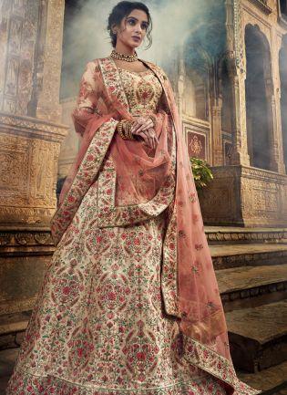 Exceptional Jute White Color Art Silk Base Lehenga Choli for Wedding