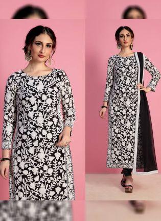 Black Color Designer Georgette Base Party Wear Salwar Kameez