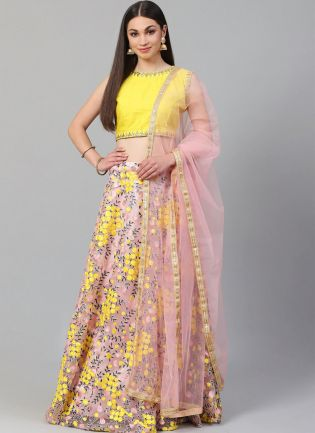 Baby Pink Heavily Embroidered Floral Motif Resham Lehenga Choli