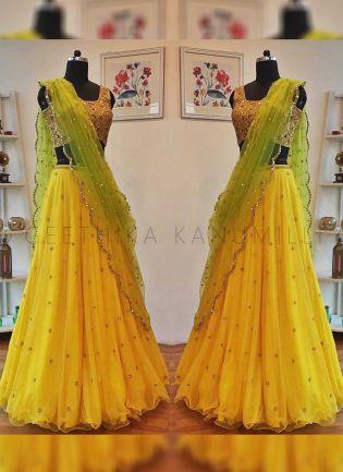 Lemon Yellow Color Party Wear Sequins Work Lehenga Choli