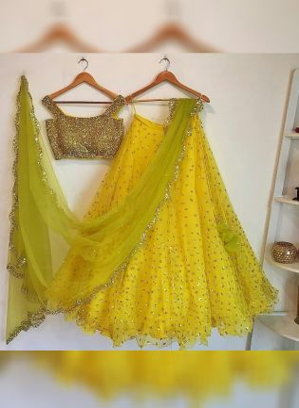 Yellow Glitter Sequins Work Lehenga Choli