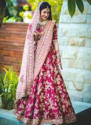 Bridal Lehenga Choli With Heavy Lace Work On Dupatta