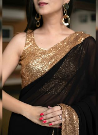 Admirable Black Color Georgette Base Designer Party Wear Saree