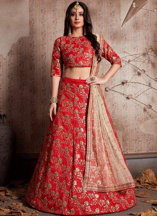 Red Sequins Embellished Lehenga Choli & Dupatta