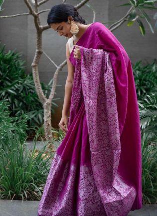 Fascinating Purple Color Silk Base Embroidered Banarasi Saree