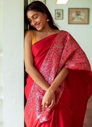 Elegant Red Color Silk Base Embroidered Saree
