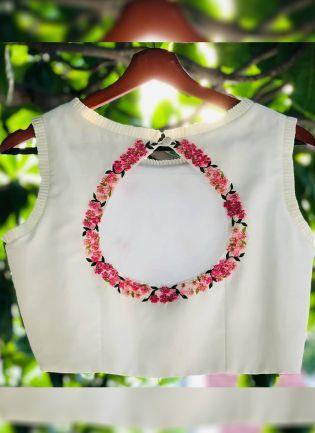 White Color Taffeta Silk Base Designer New Trendy Blouse