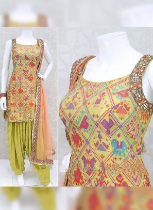 Fashionable Pear Green Rayon Designer Digital Printed Patiala Suit