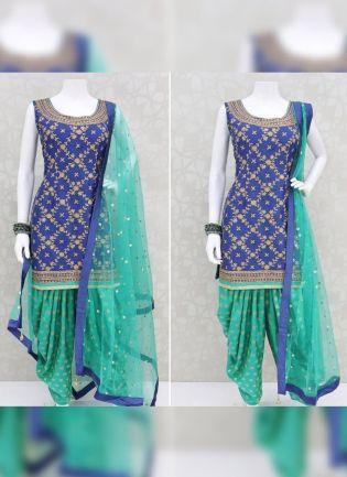Thrilling Blue Rayon Base Designer Digital Printed Dhoti Style Salwar Suit