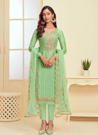 Pista Green Color With Georgette Base Salwar Kameez