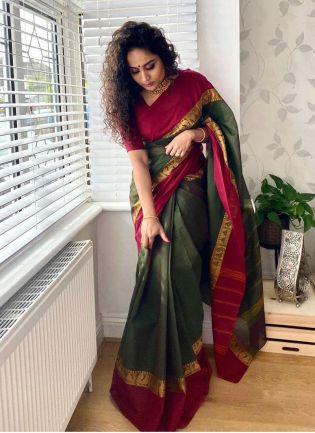 Charming Look Teal Green Color Banarasi Saree