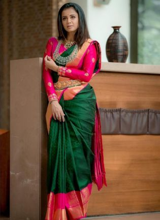 Admirable Green Color Silk Base With Heavy Blouse
