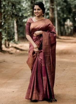 Glamorous Maroon Color Silk Base Wedding Wear Saree With Same Color Blouse