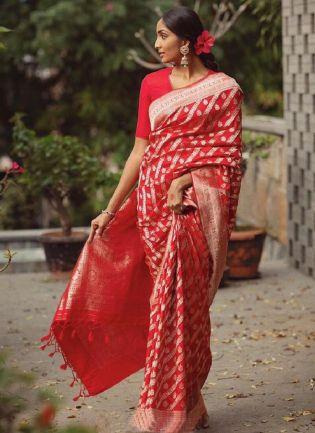 Wonderful Red Color Silk Base Wedding Wear Banarasi Saree With Same Color Blouse