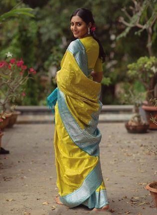 Wonderful Lemon Yellow Color Silk Base Wedding Wear Banarasi Saree With Same Color Blouse